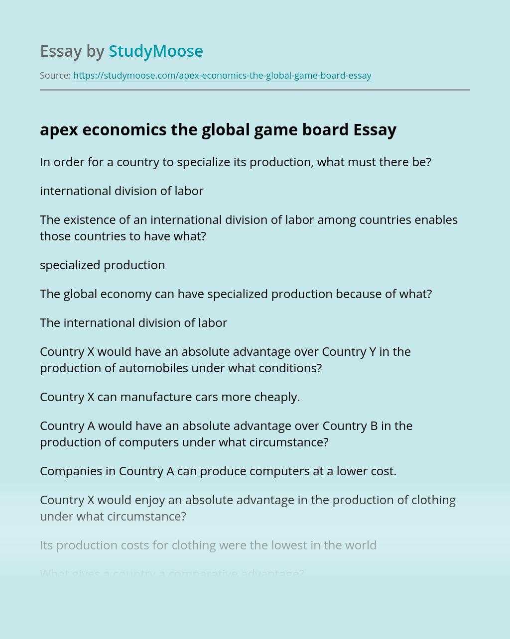 apex economics the global game board