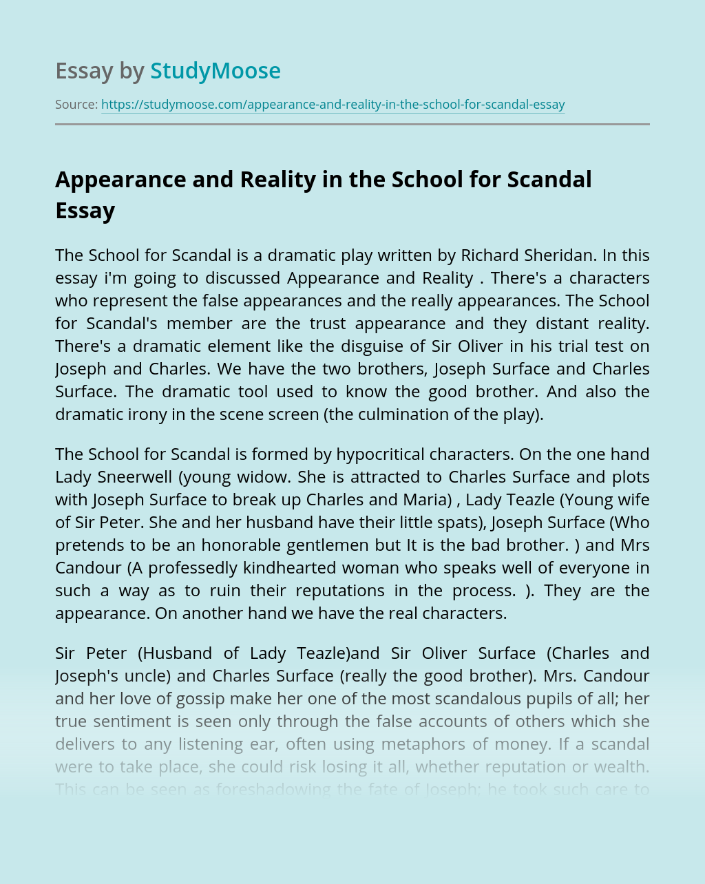 Appearance and Reality in the School for Scandal