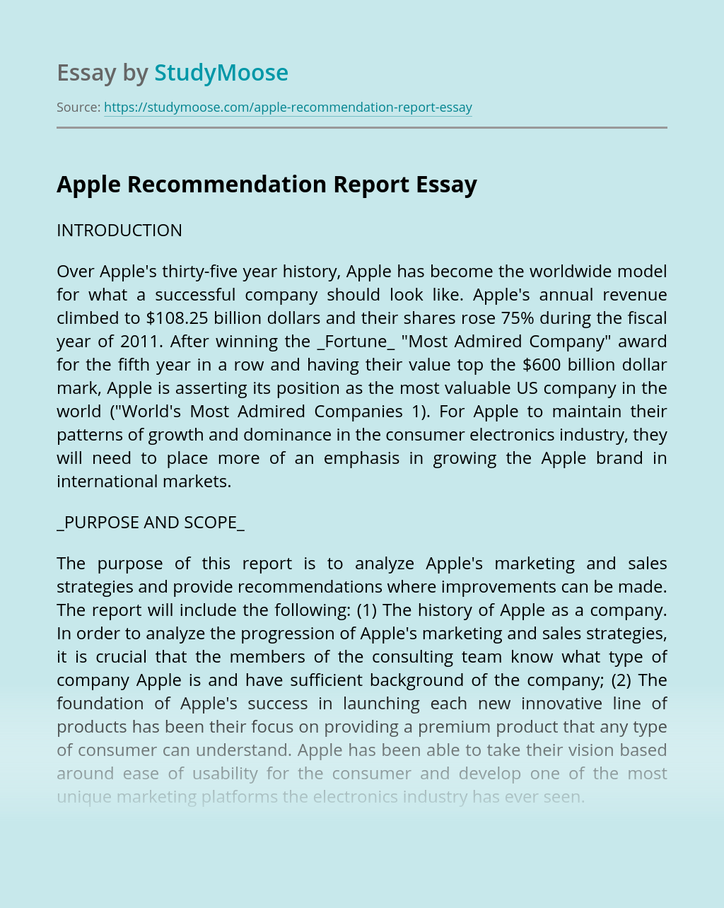 Apple Recommendation Report