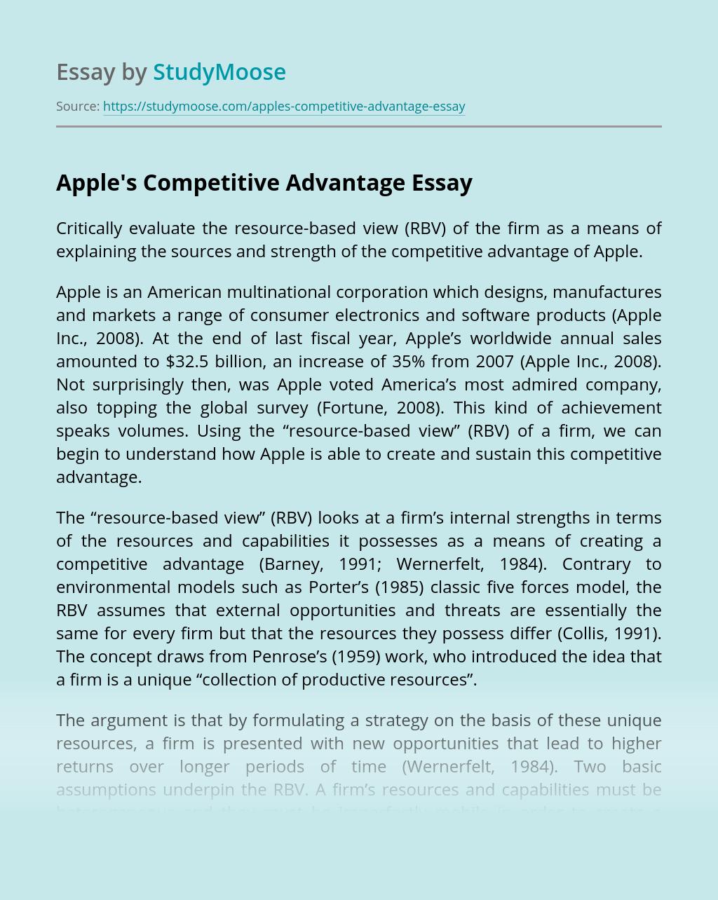 Apple's Competitive Advantage