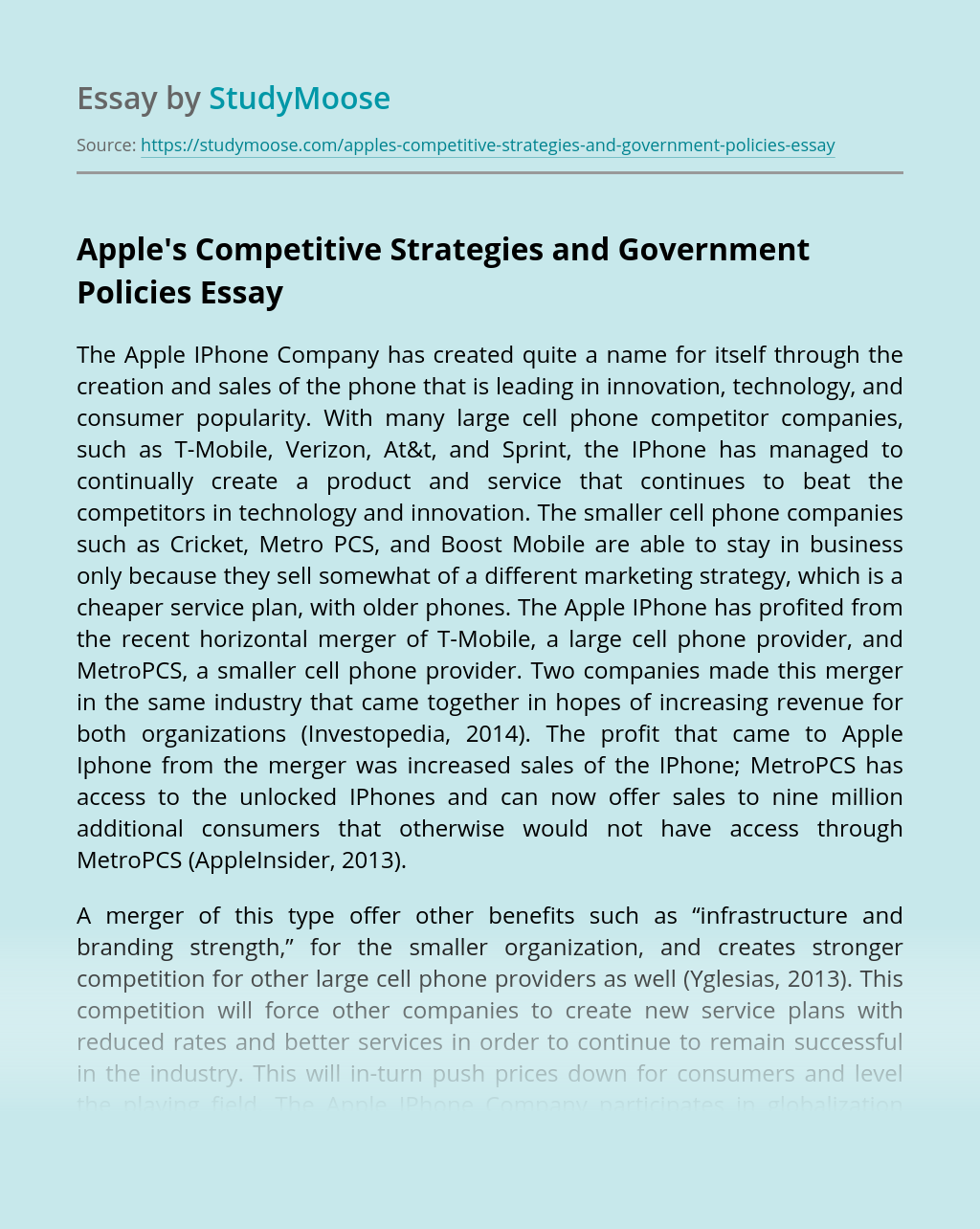 Apple's Competitive Strategies and Government Policies