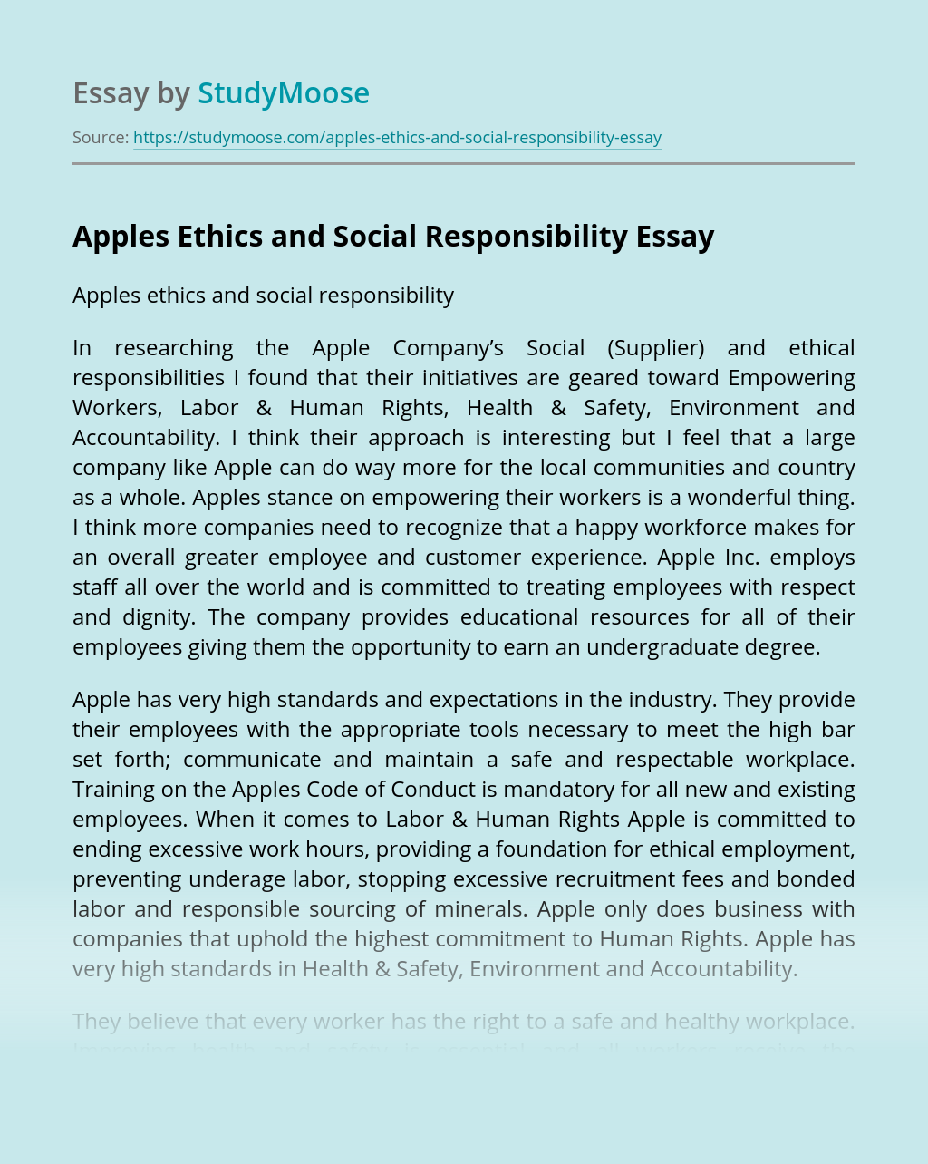 Apples Ethics and Social Responsibility