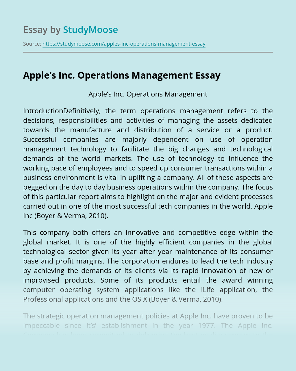 Apple's Inc. Operations Management