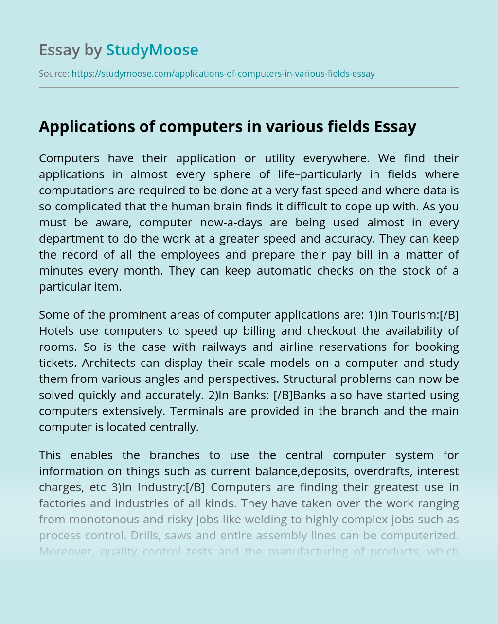 Applications of computers in various fields