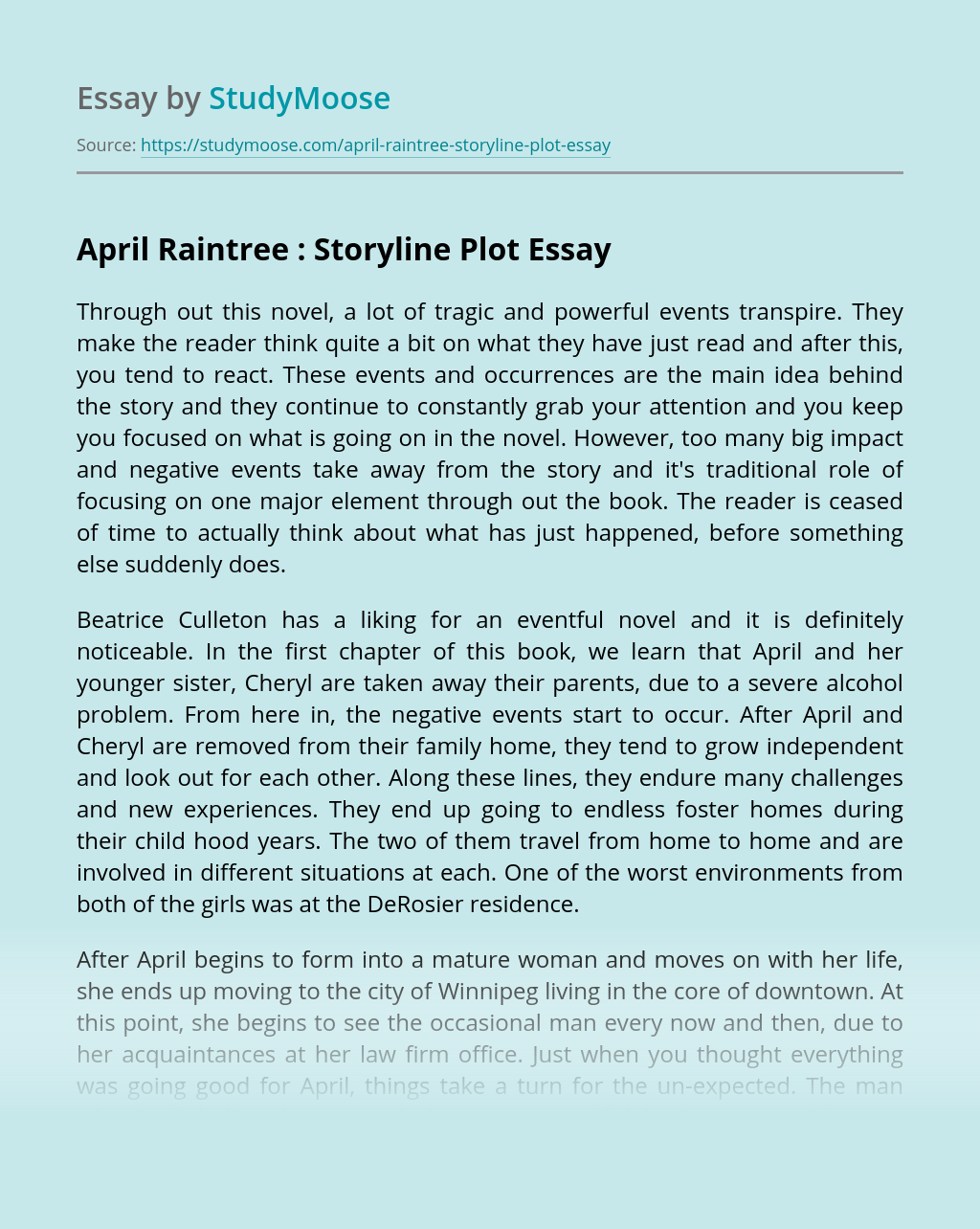 April Raintree : Storyline Plot