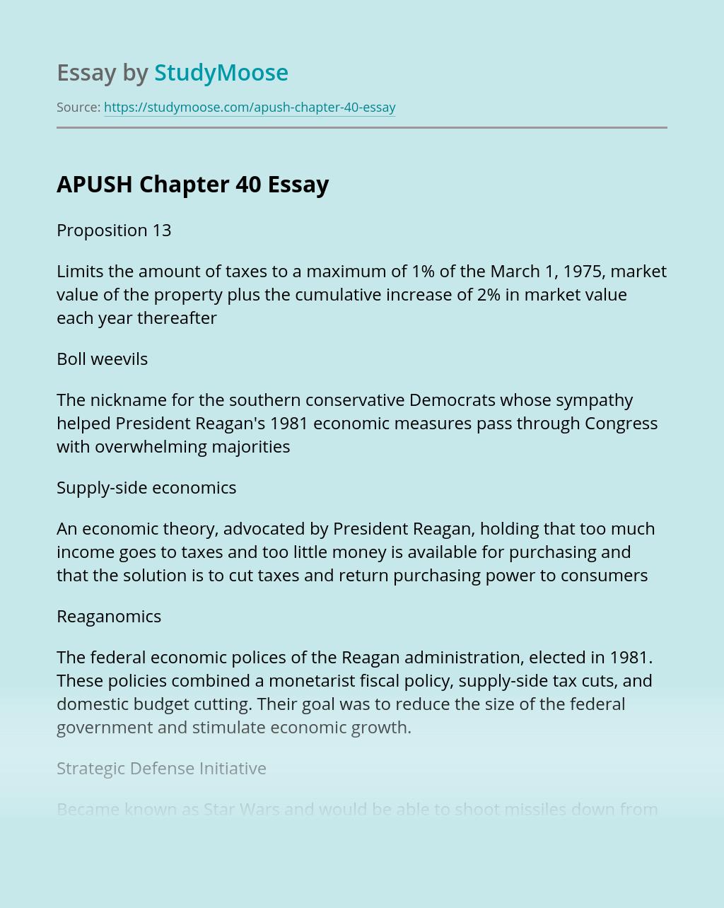 APUSH Chapter 40