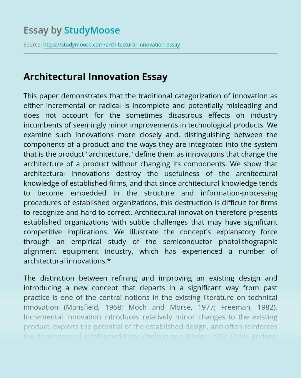 Architectural Innovation