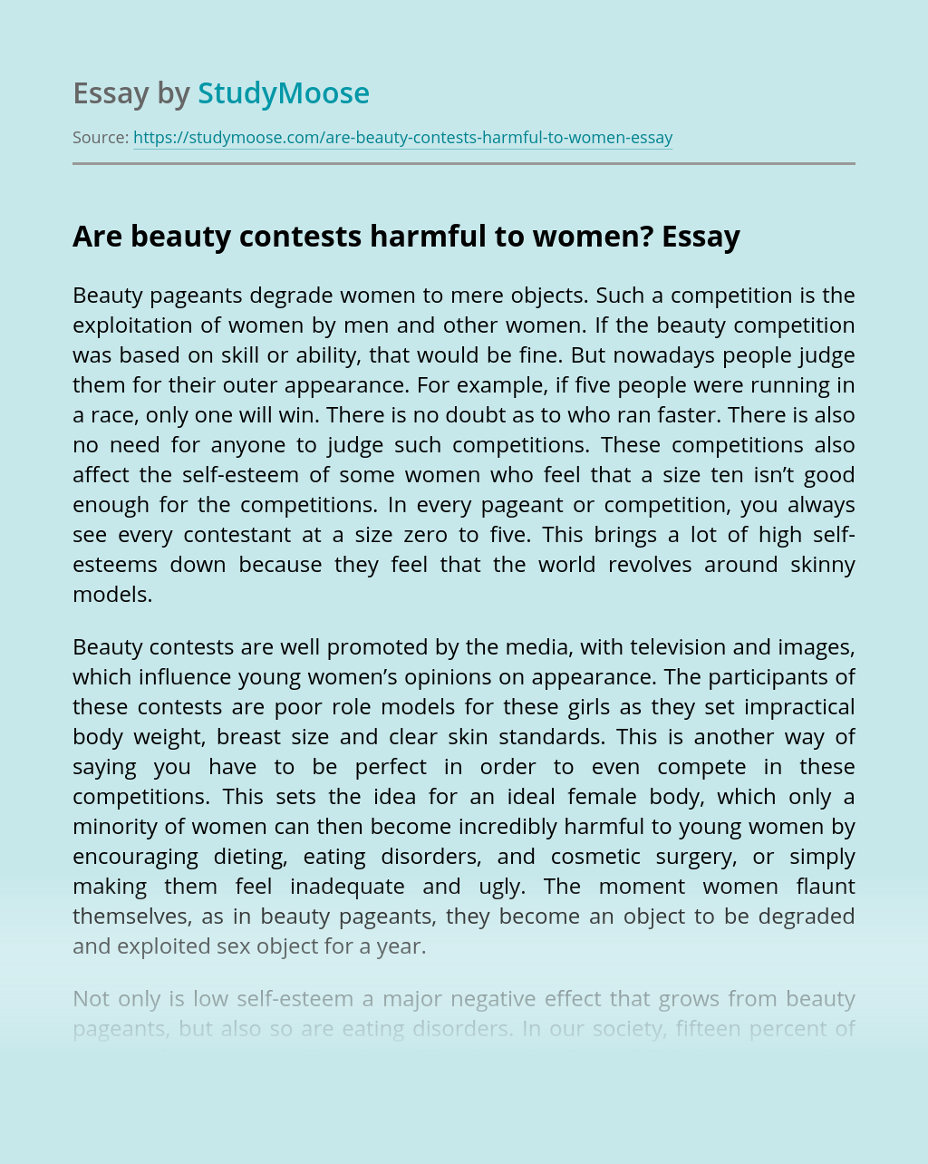 Are beauty contests harmful to women?