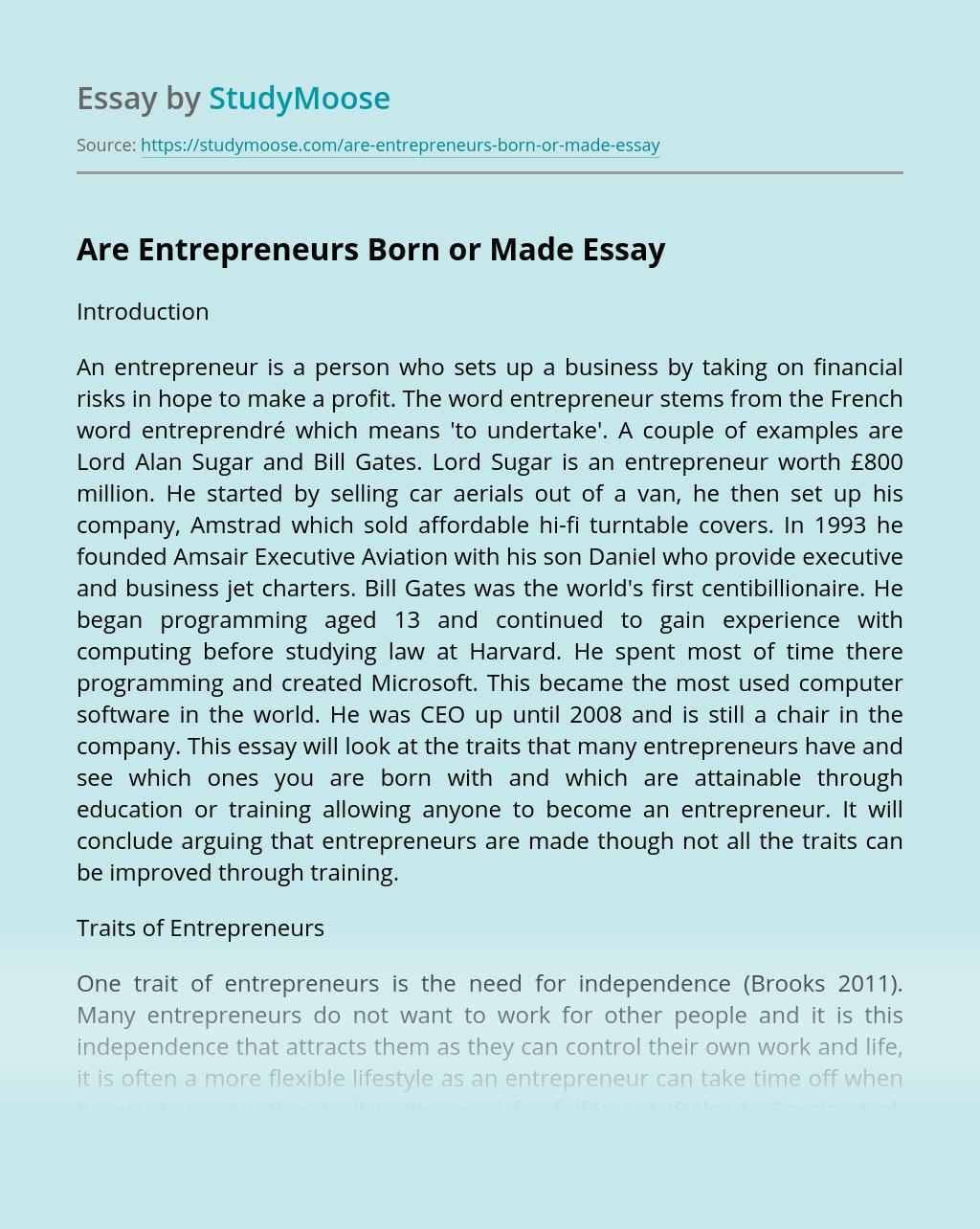 Are Entrepreneurs Born or Made