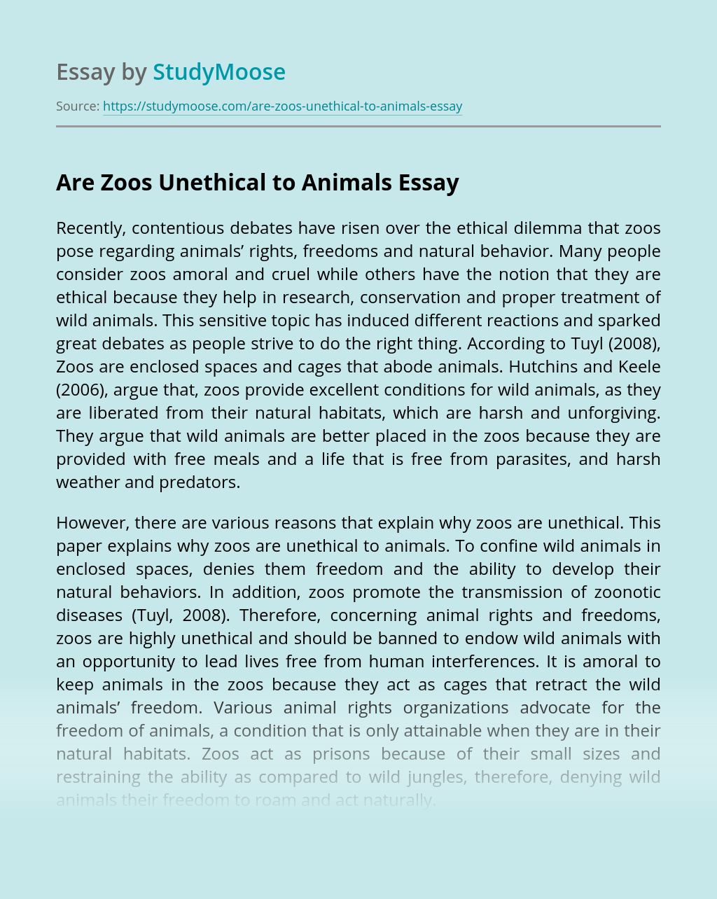 Are Zoos Unethical to Animals