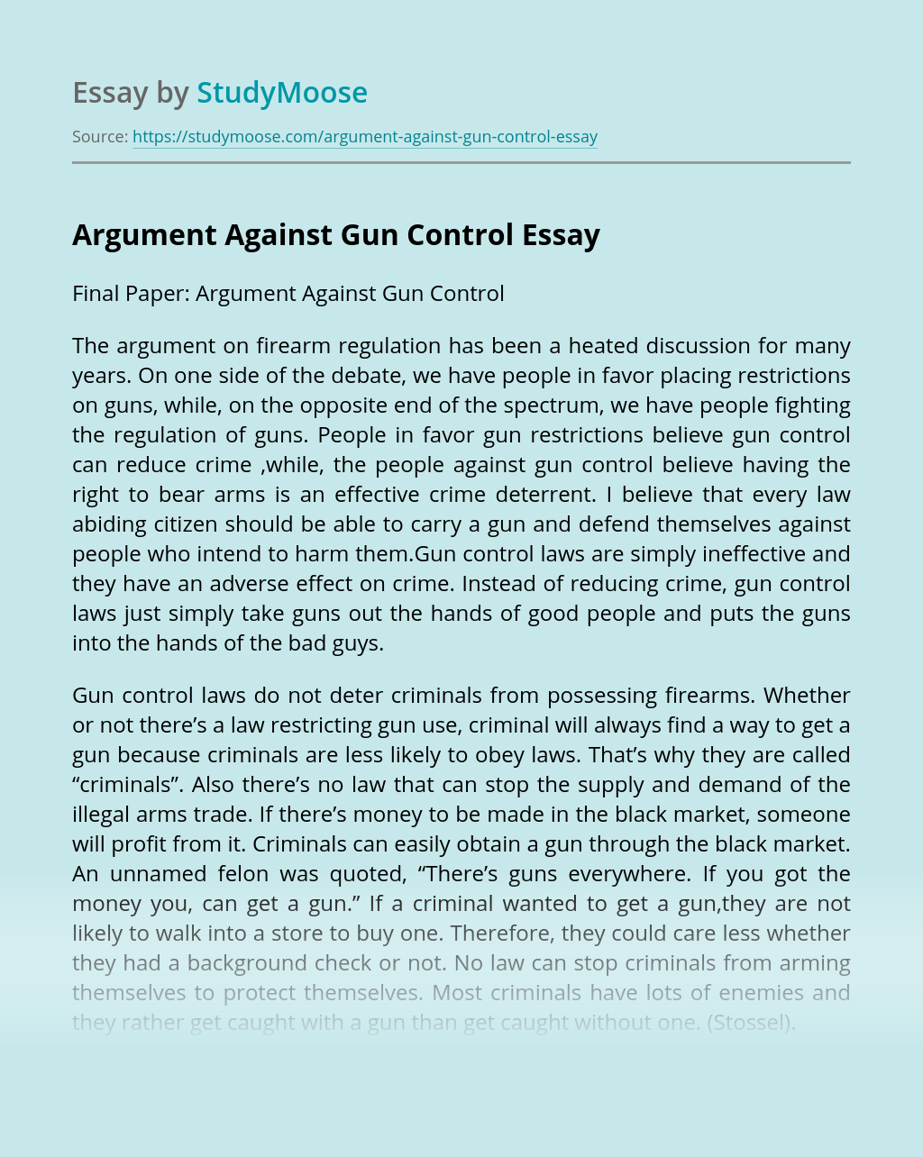 Argument Against Gun Control