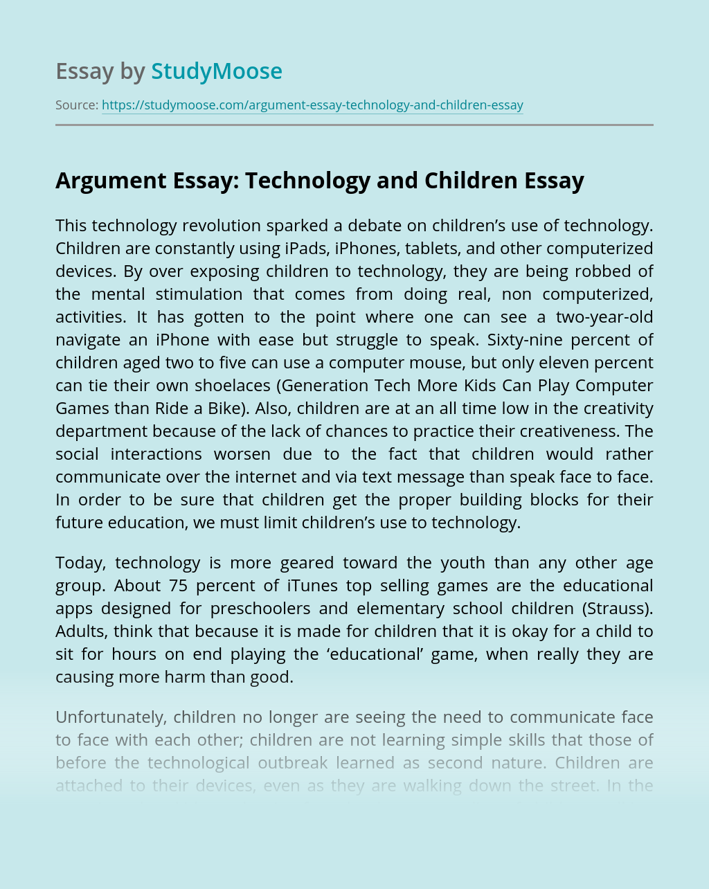 Argument Essay: Technology and Children