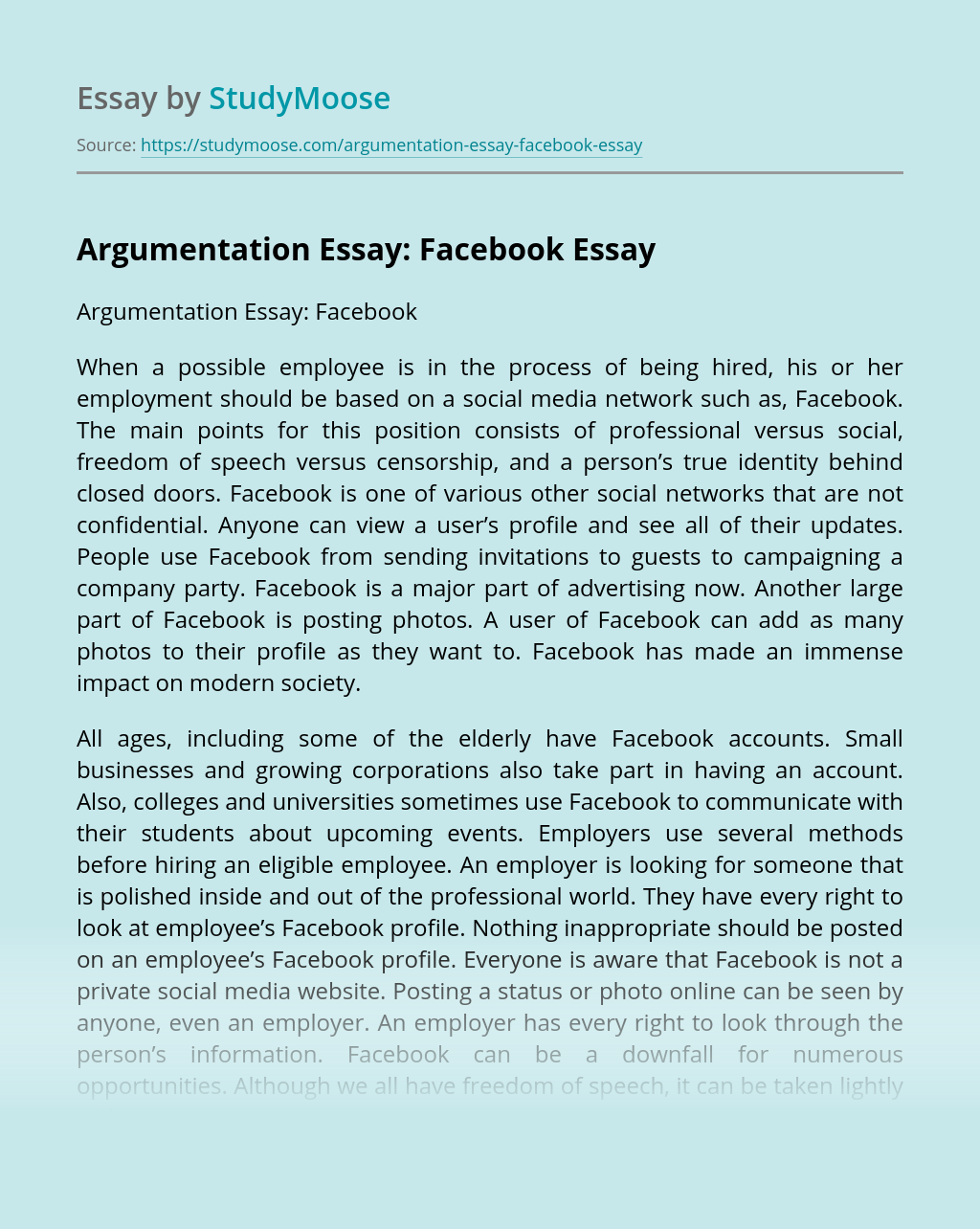 Argumentation Essay: Facebook