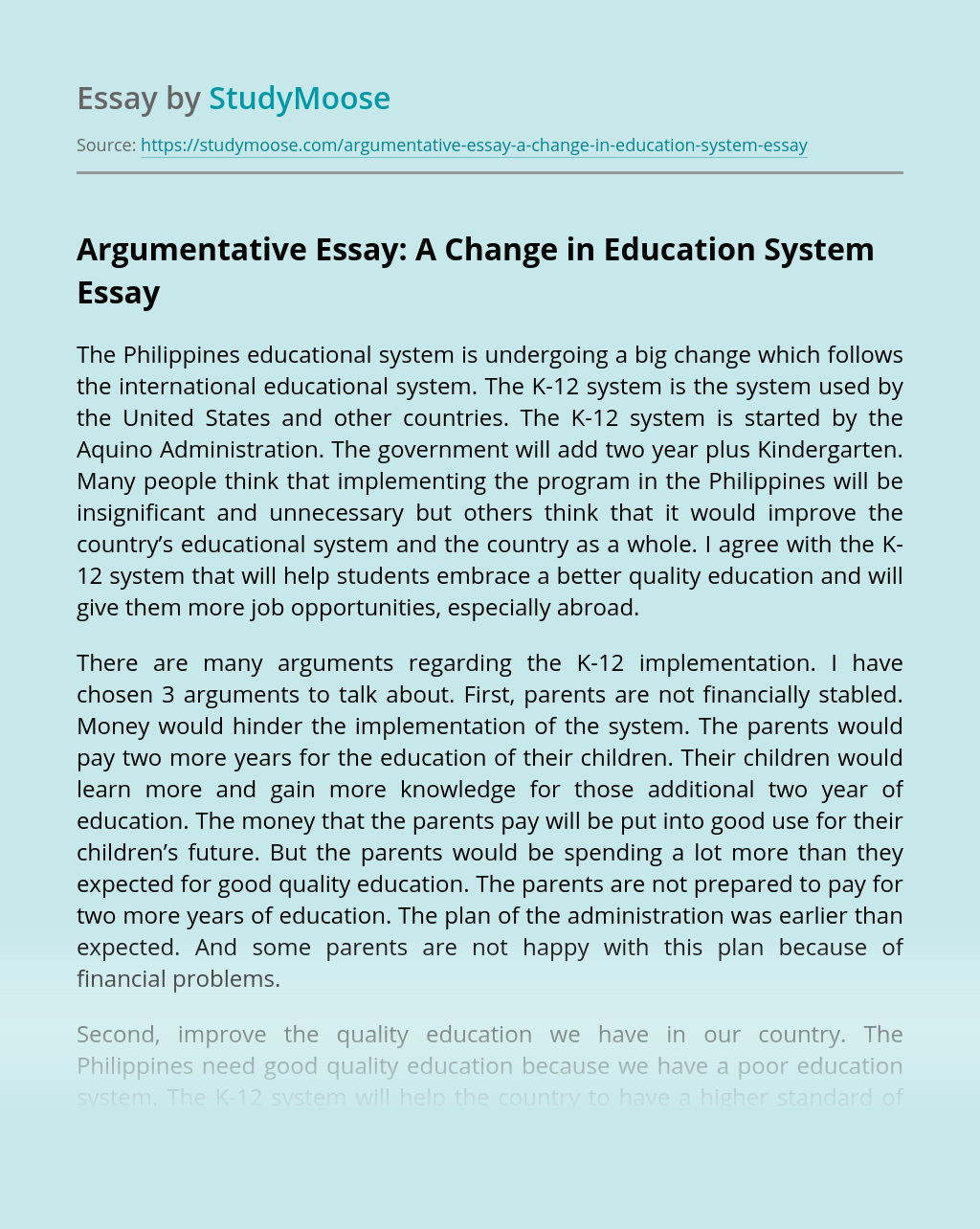 Argumentative Essay: A Change in Education System