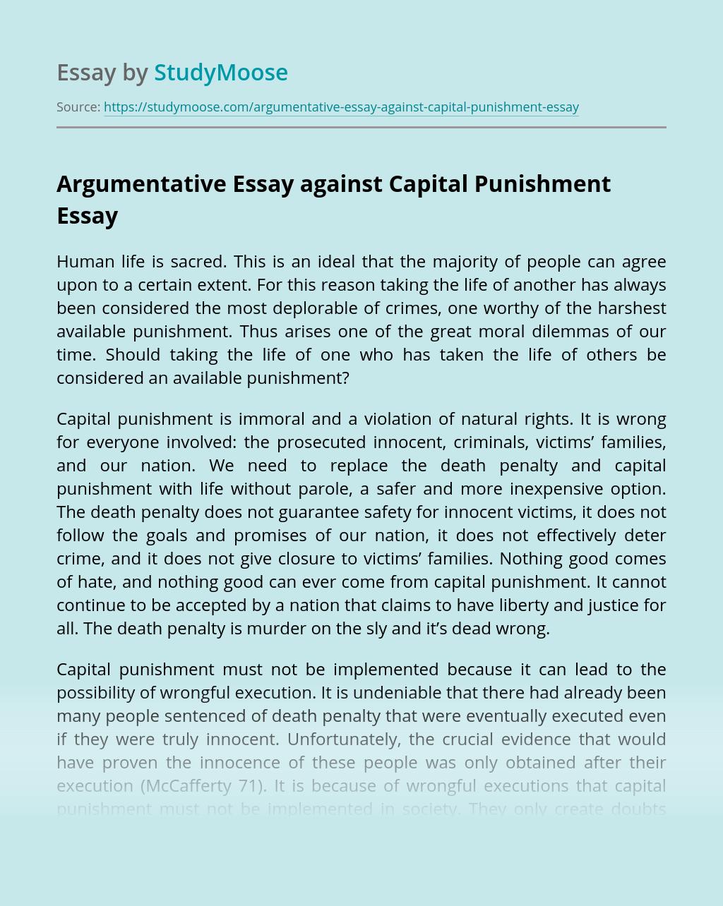 Argumentative Essay against Capital Punishment