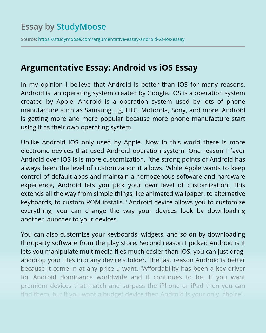 Argumentative Essay: Android vs iOS