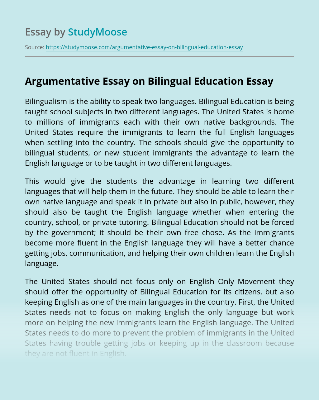 Argumentative Essay on Bilingual Education