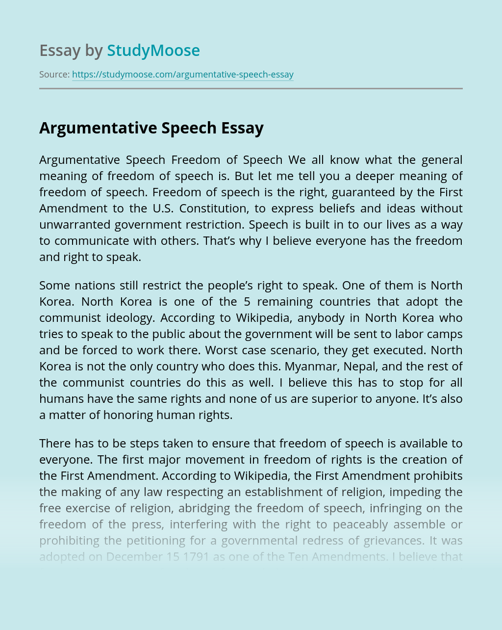 Persuasive essay speech