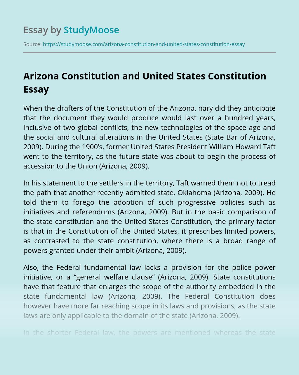 Arizona Constitution and United States Constitution