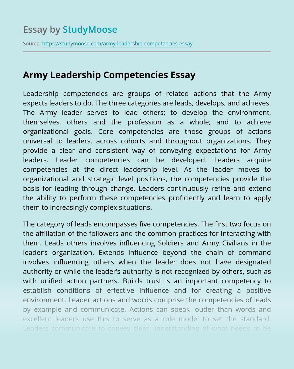 Army Leadership Competencies