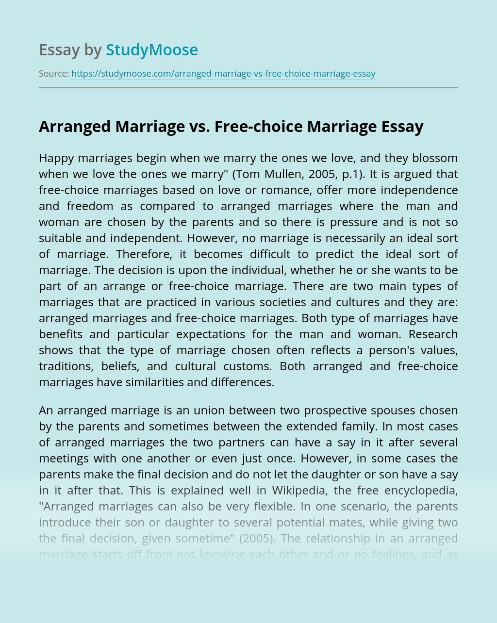 Arranged Marriage vs. Free-choice Marriage