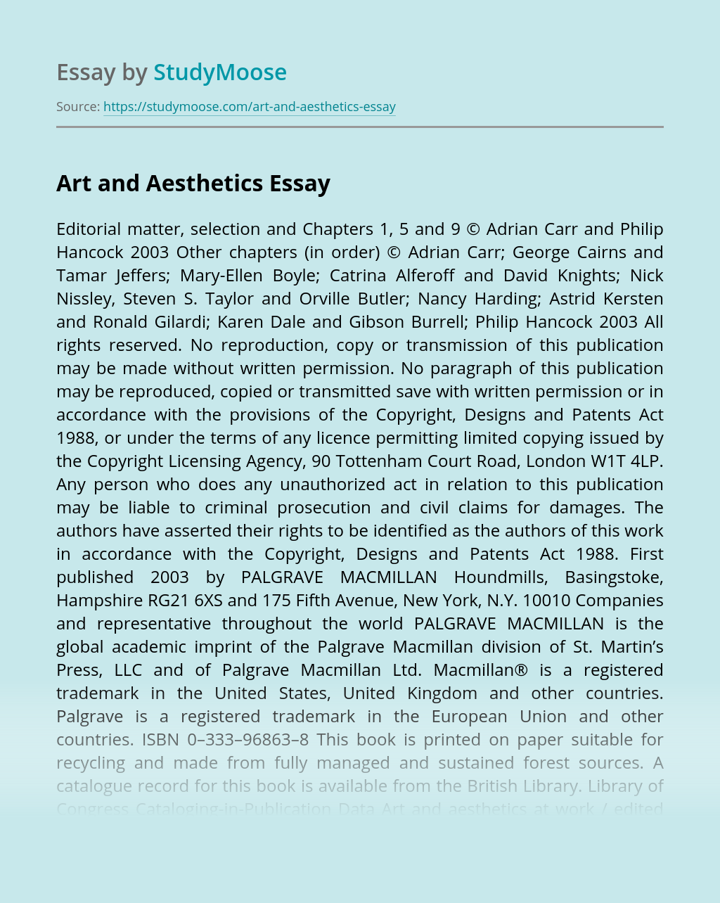 Art and Aesthetics