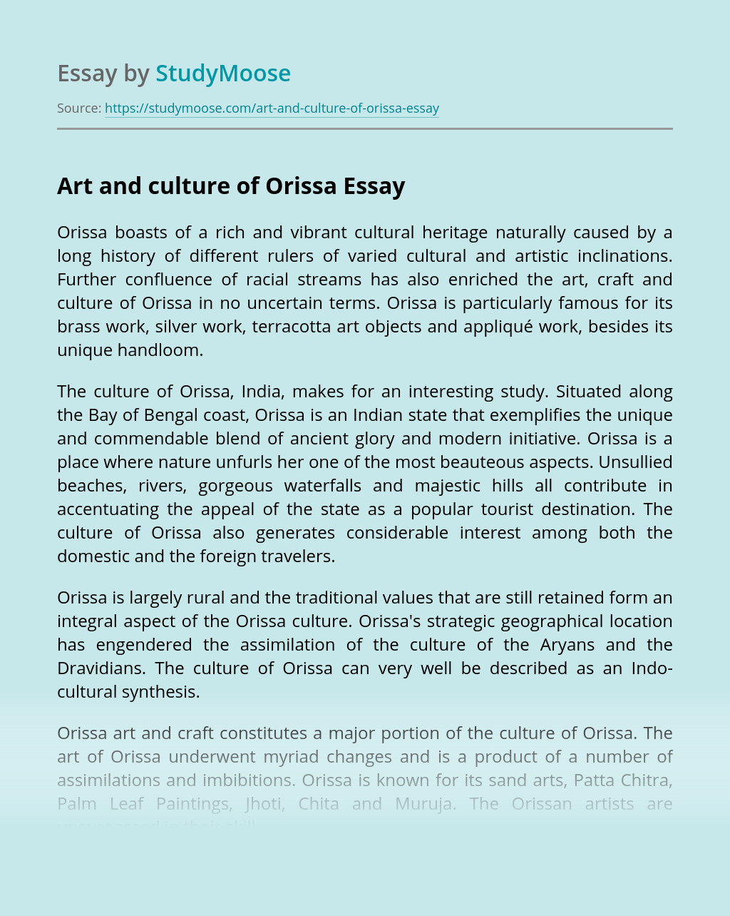 Art and culture of Orissa