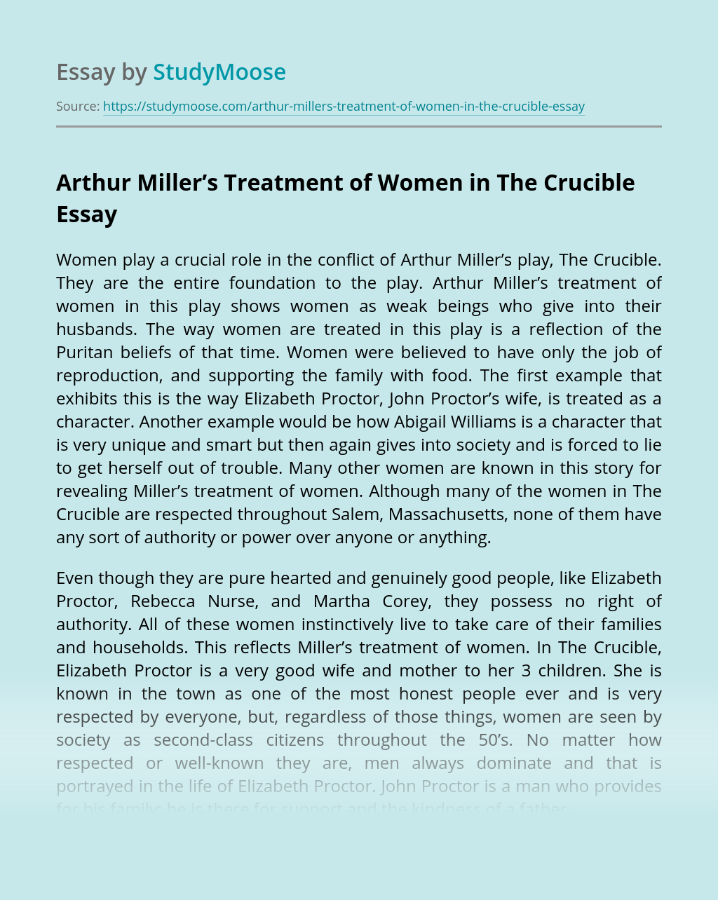 Arthur Miller's Treatment of Women in The Crucible