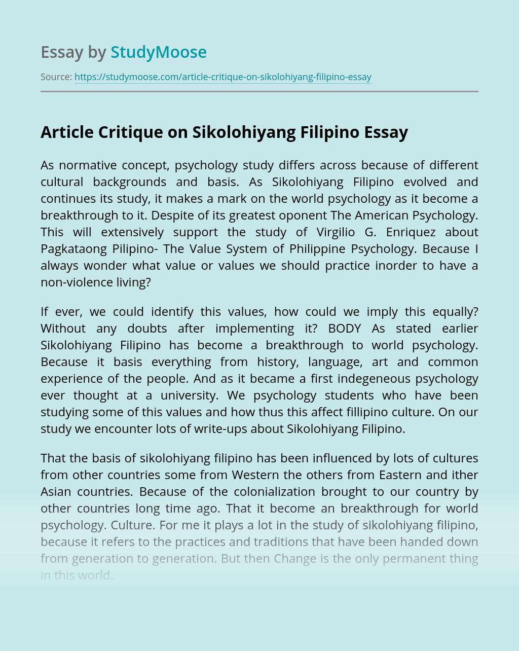 Article Critique on Sikolohiyang Filipino