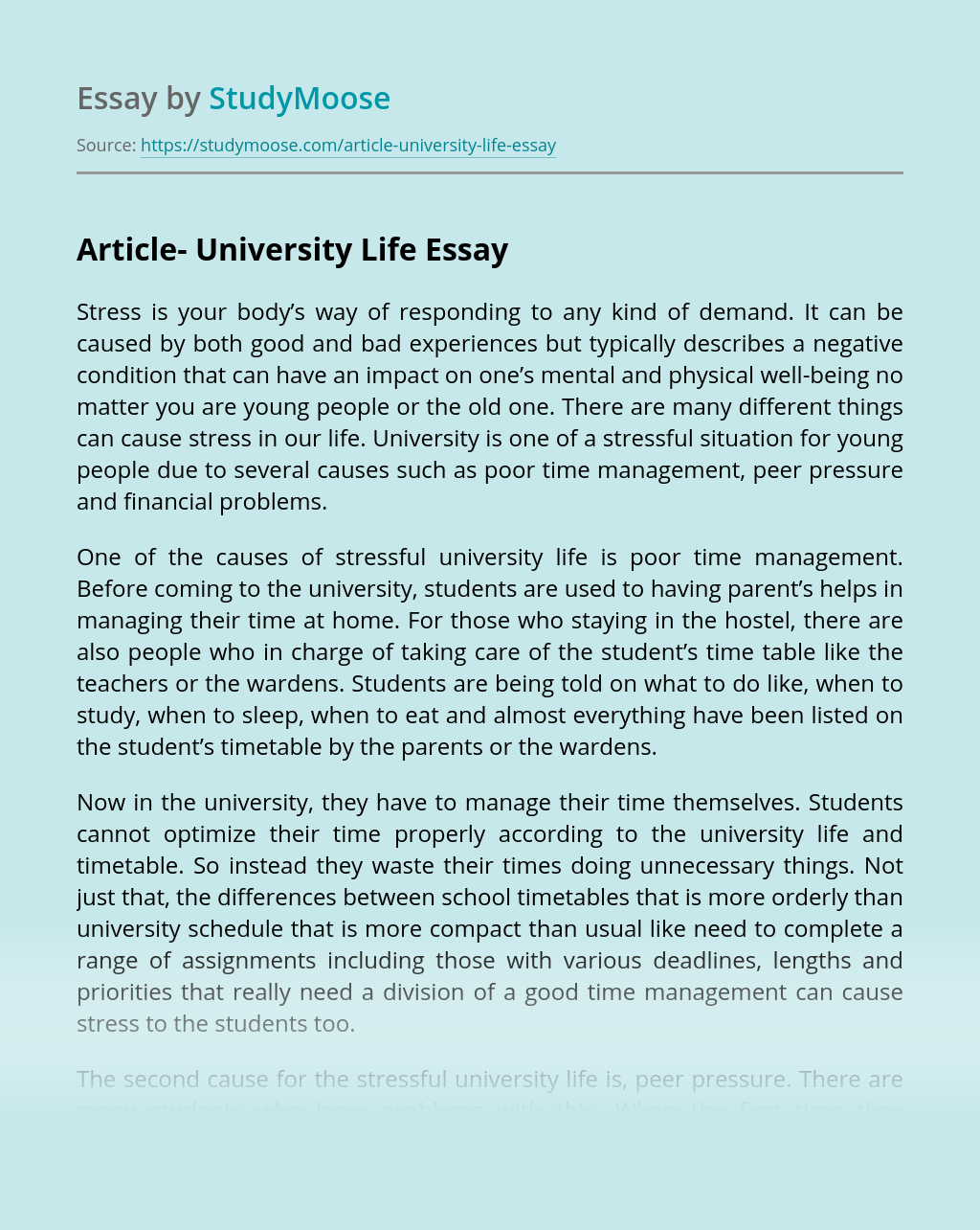Article- University Life