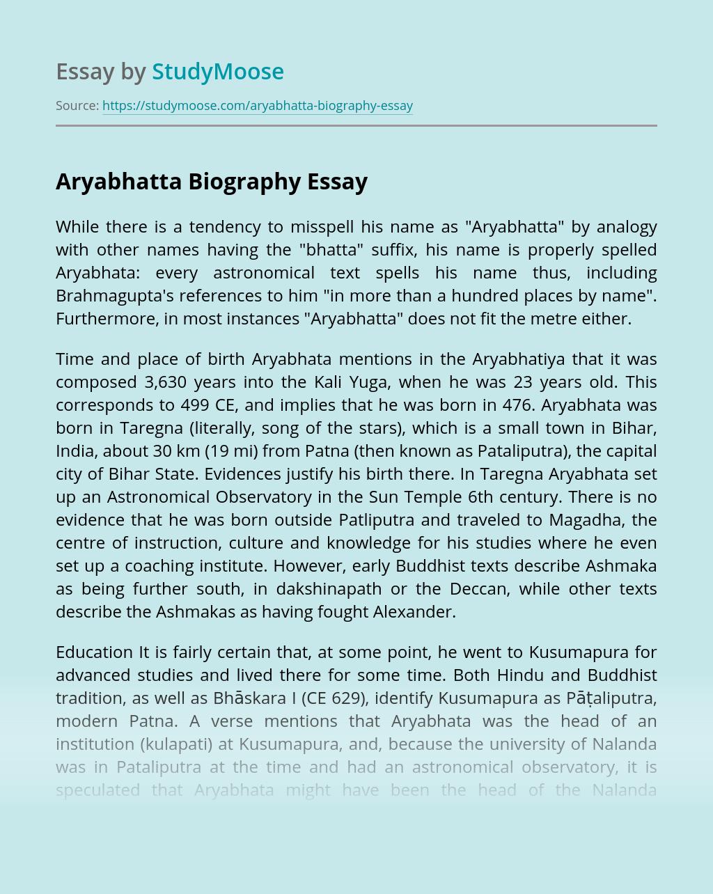 Aryabhatta Biography
