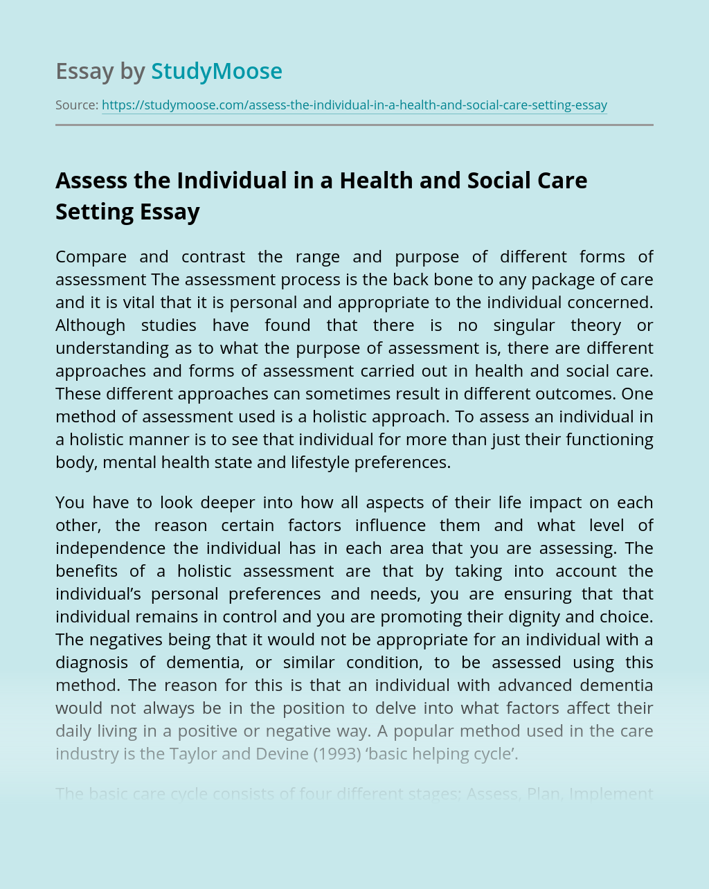 Assess the Individual in a Health and Social Care Setting