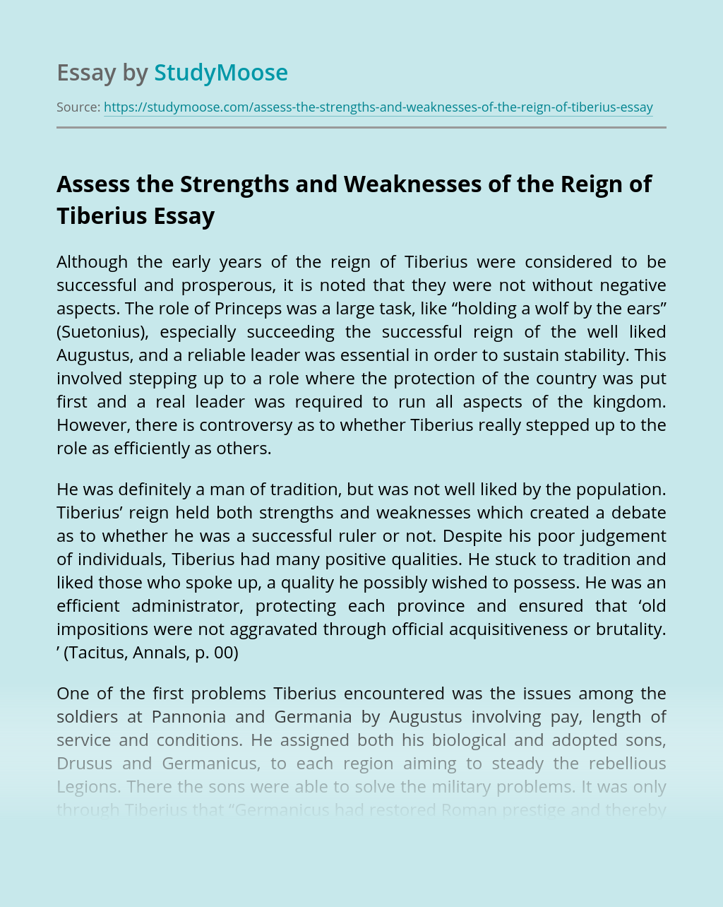 Assess the Strengths and Weaknesses of the Reign of Tiberius