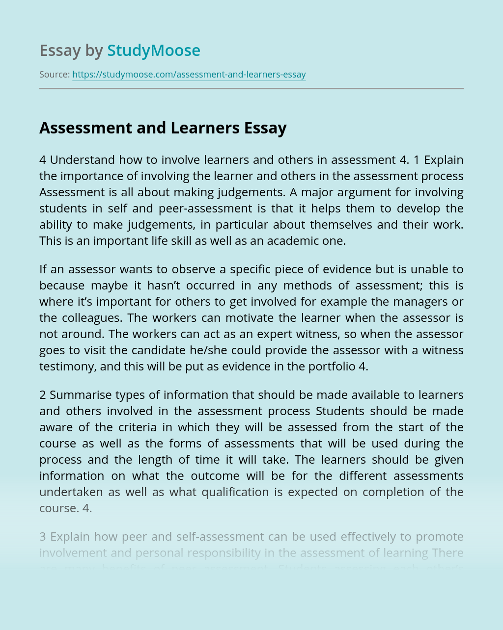 Assessment and Learners