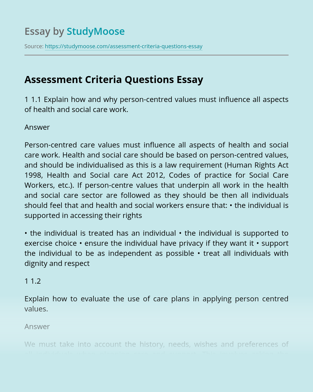 Assessment Criteria Questions