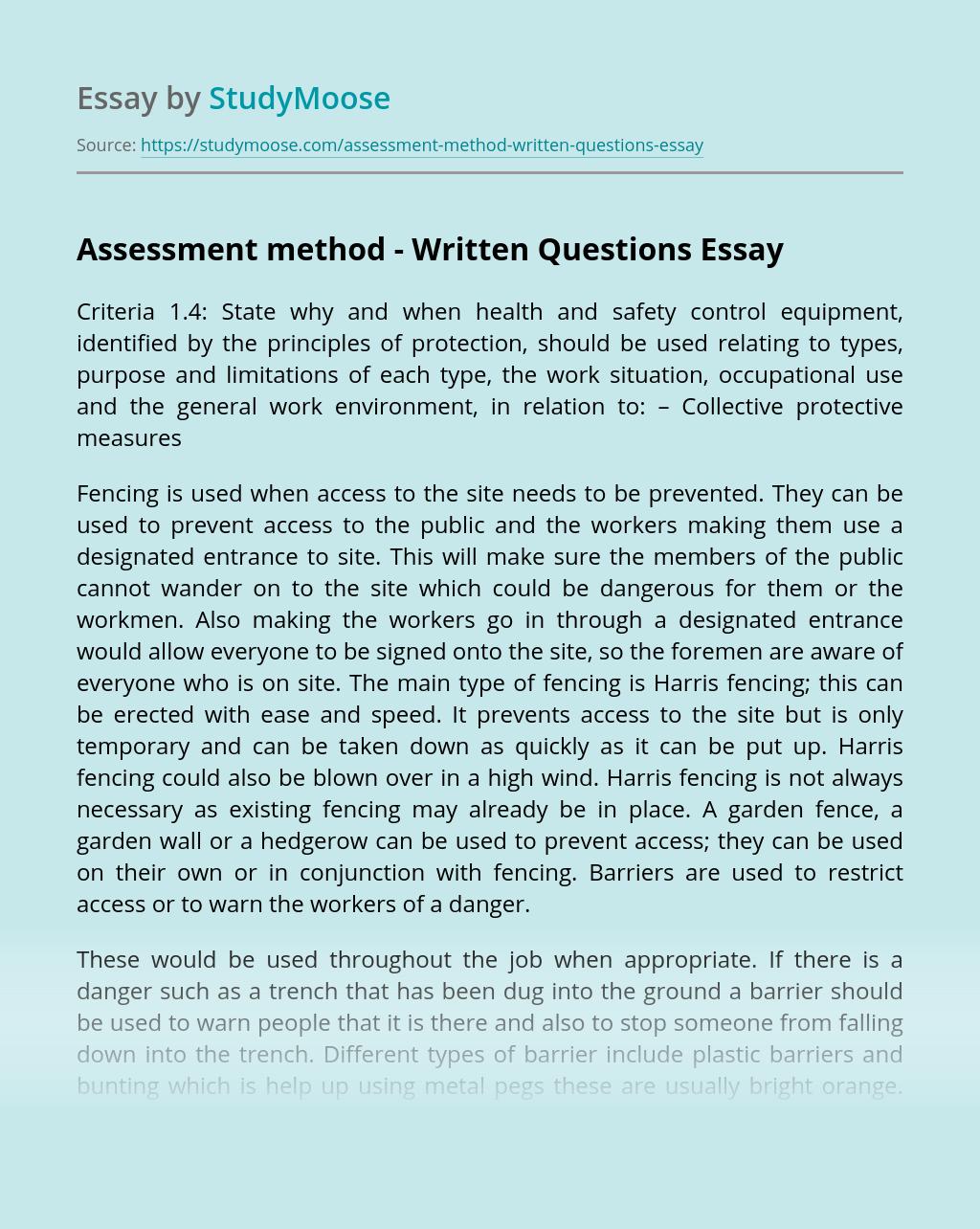 Assessment method - Written Questions