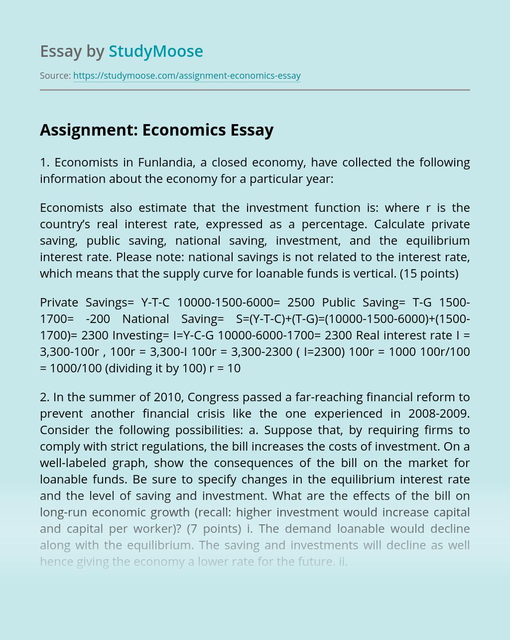 Assignment: Economics