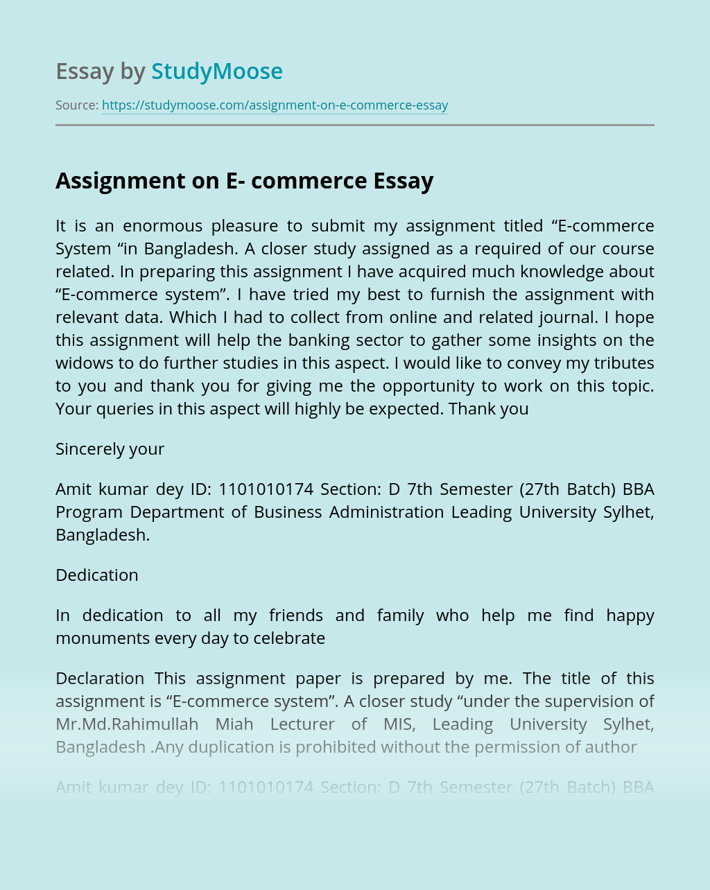 Assignment on E- commerce