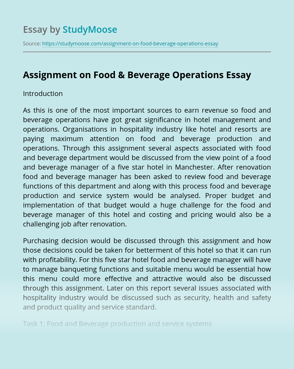 Assignment on Food & Beverage Operations