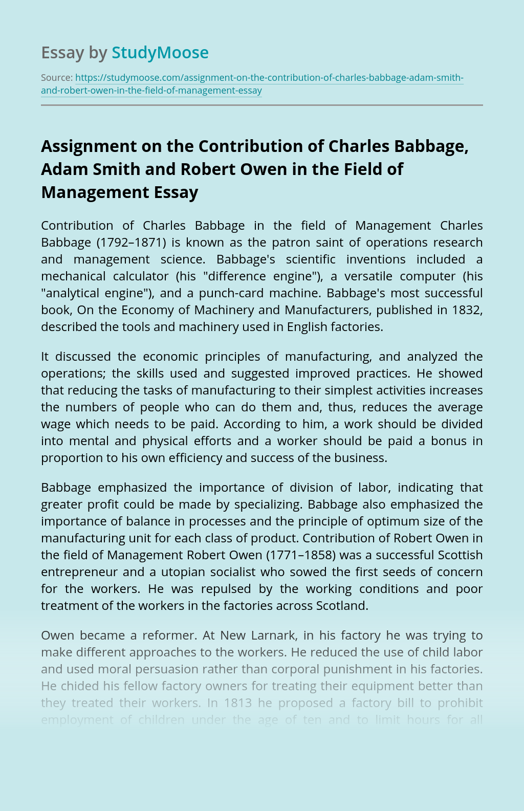 Assignment on the Contribution of Charles Babbage, Adam Smith and Robert Owen in the Field of Management
