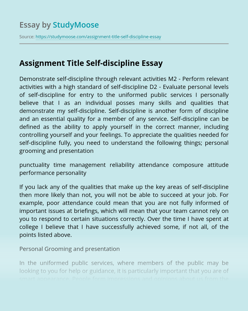 Assignment Title Self-discipline