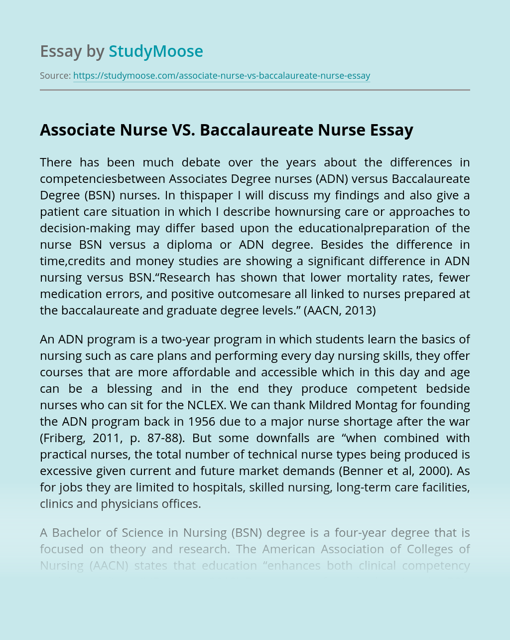 Associate Nurse VS. Baccalaureate Nurse