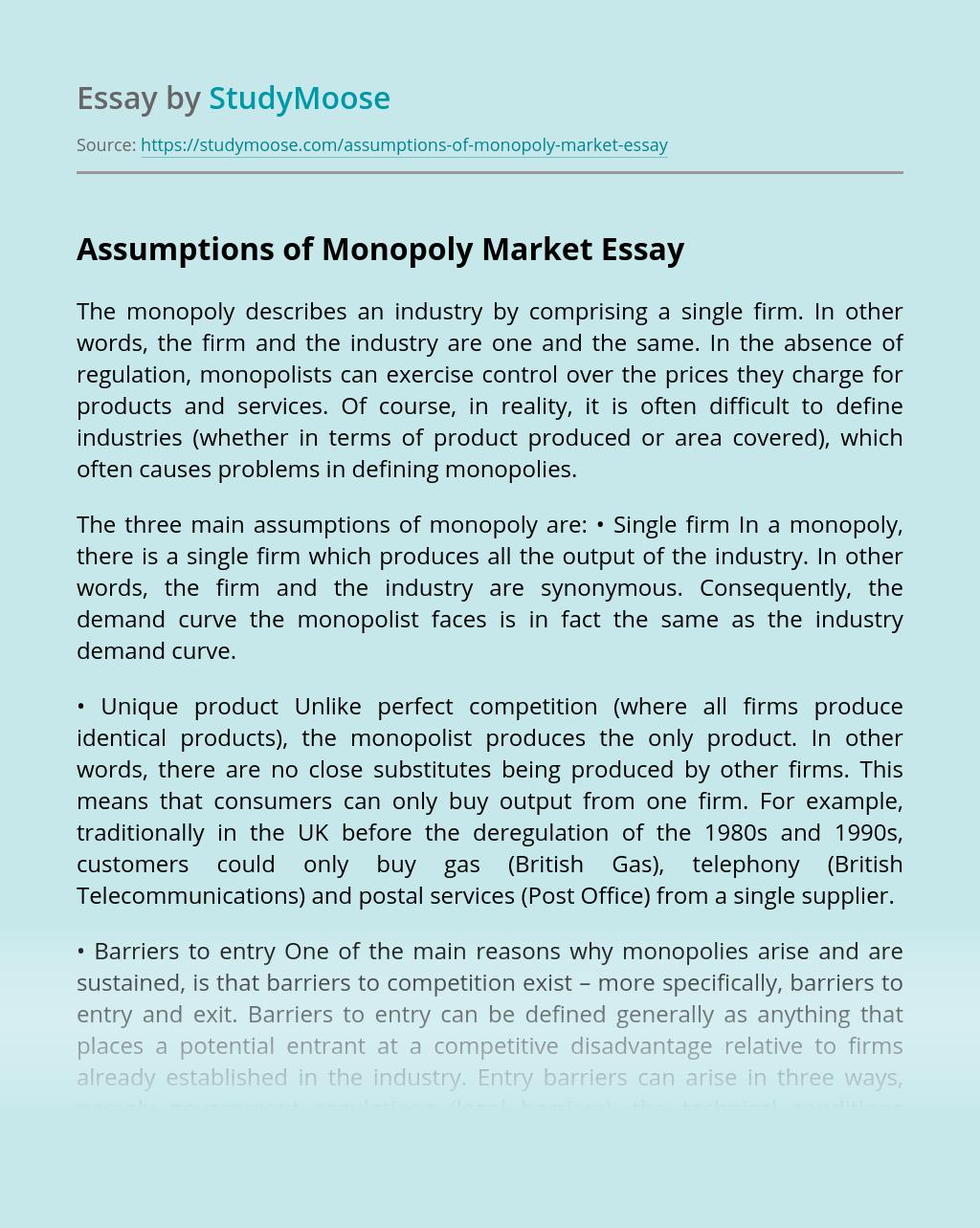 Assumptions of Monopoly Market
