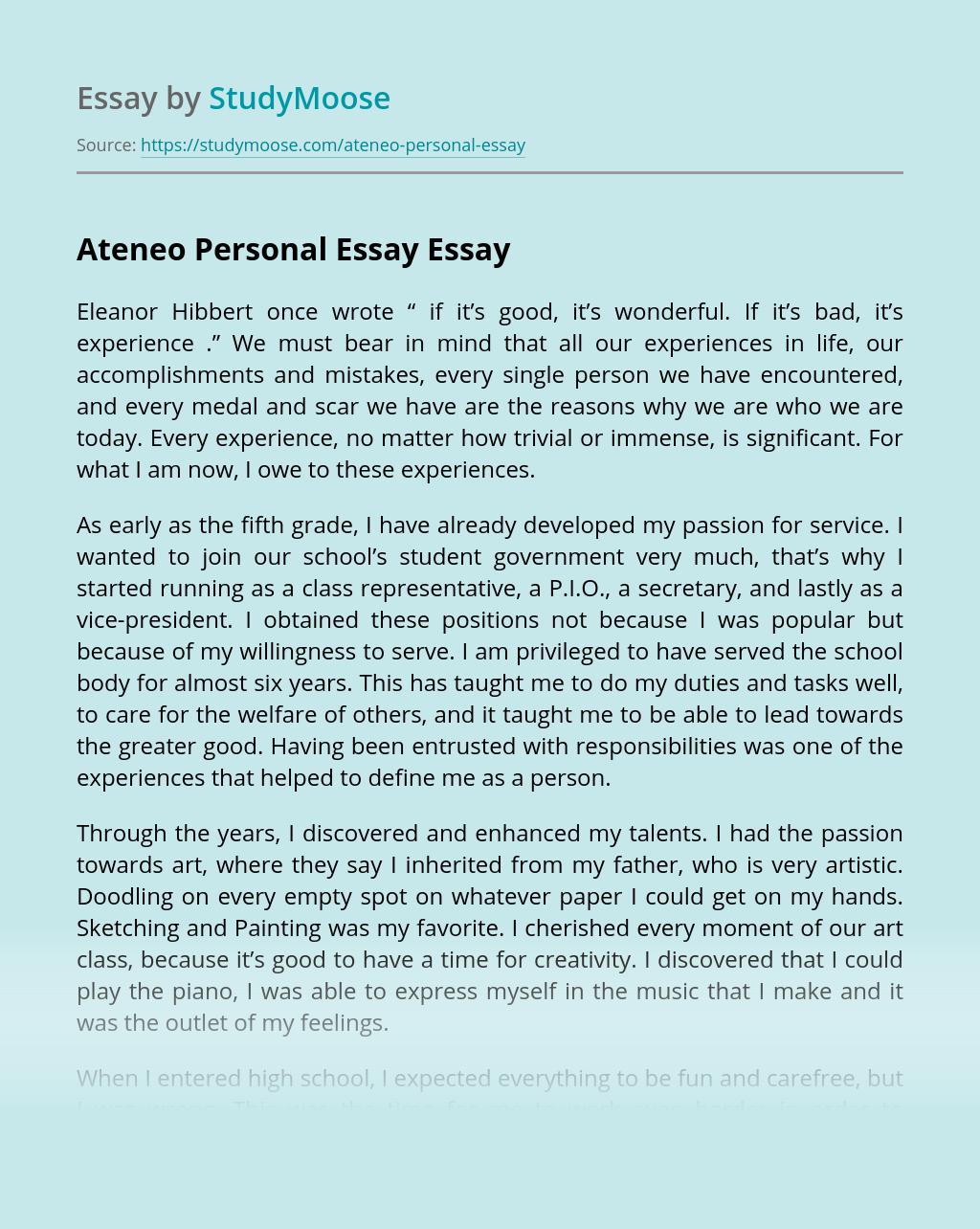 Ateneo Personal Essay