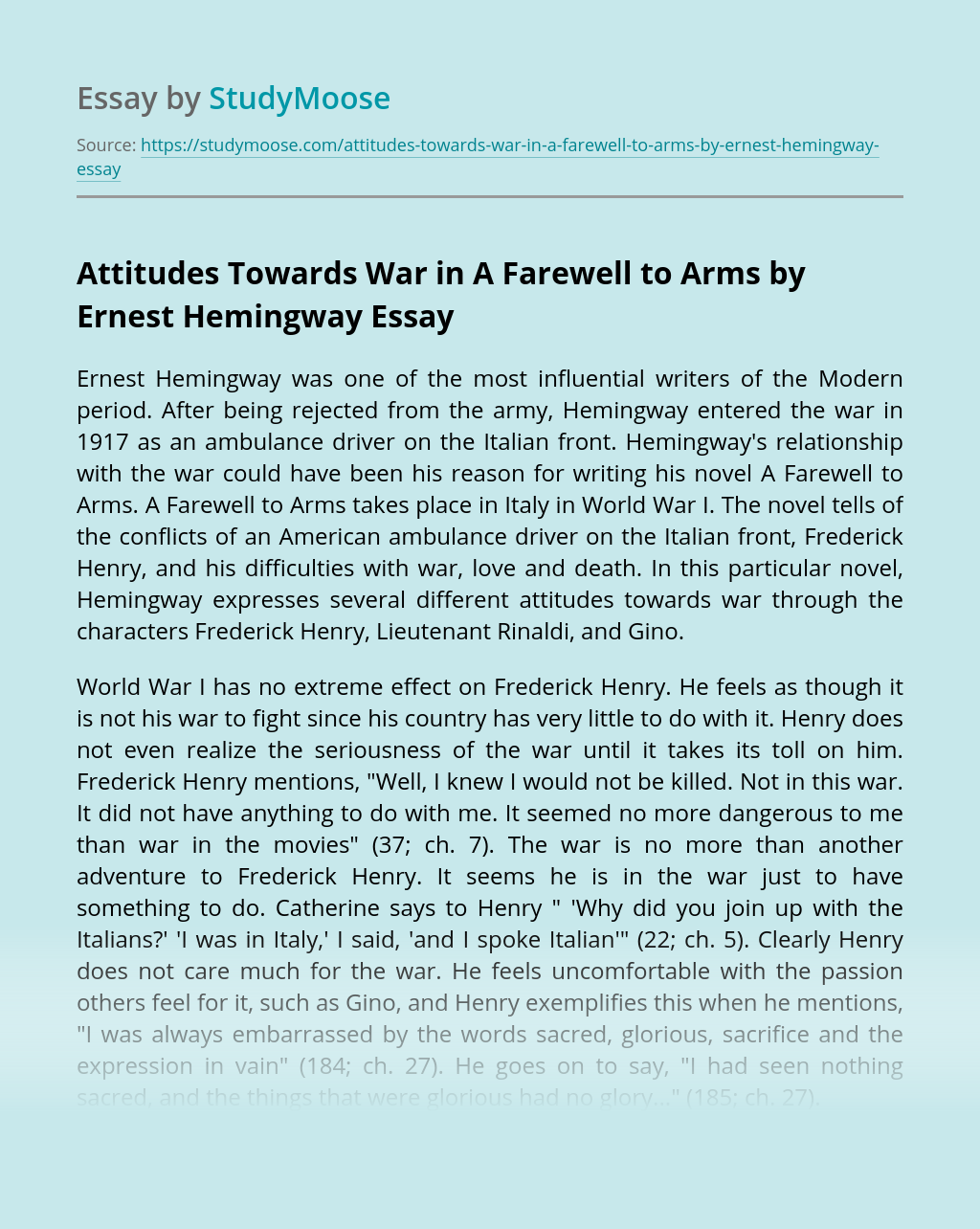 Attitudes Towards War in A Farewell to Arms by Ernest Hemingway