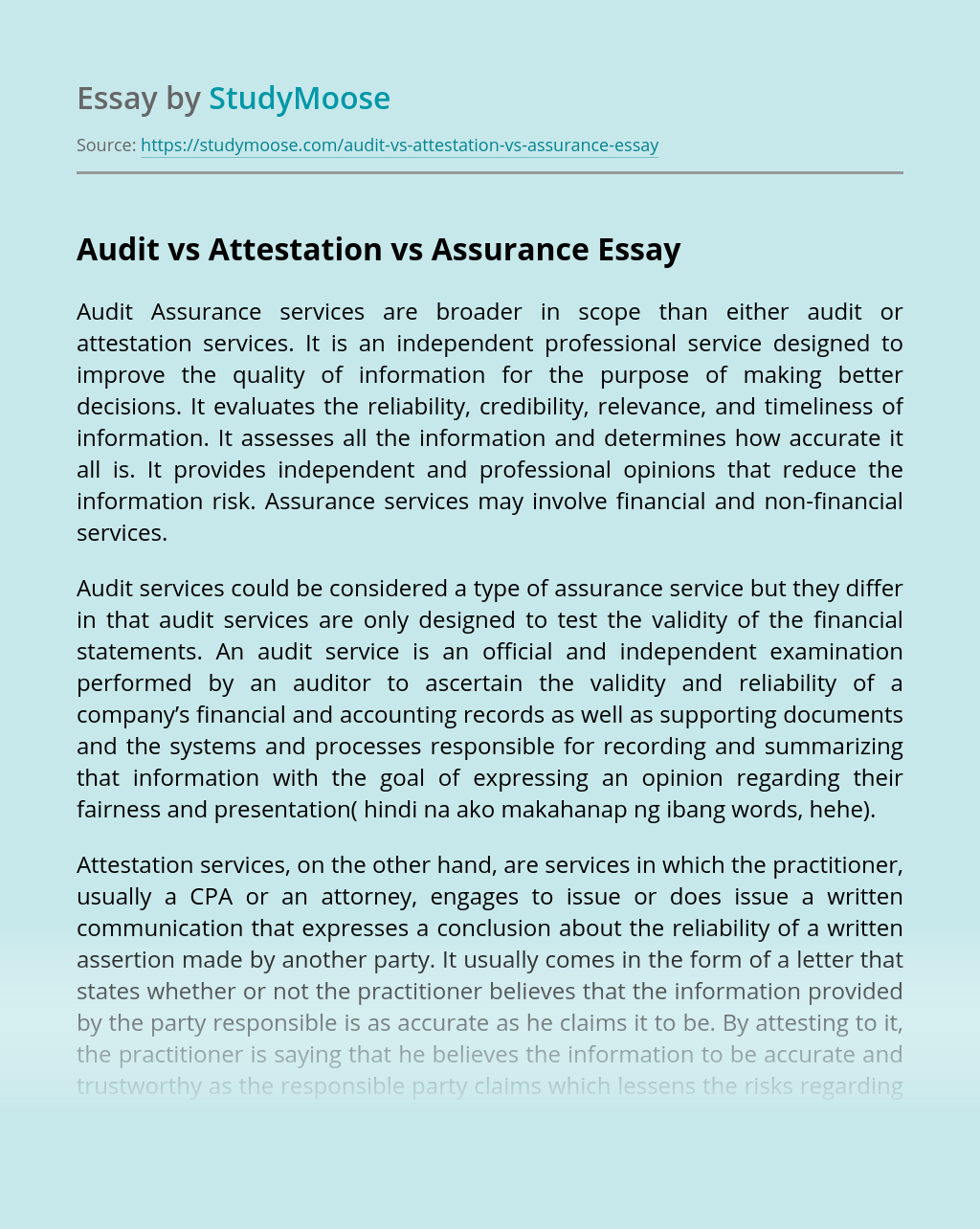 Audit vs Attestation vs Assurance
