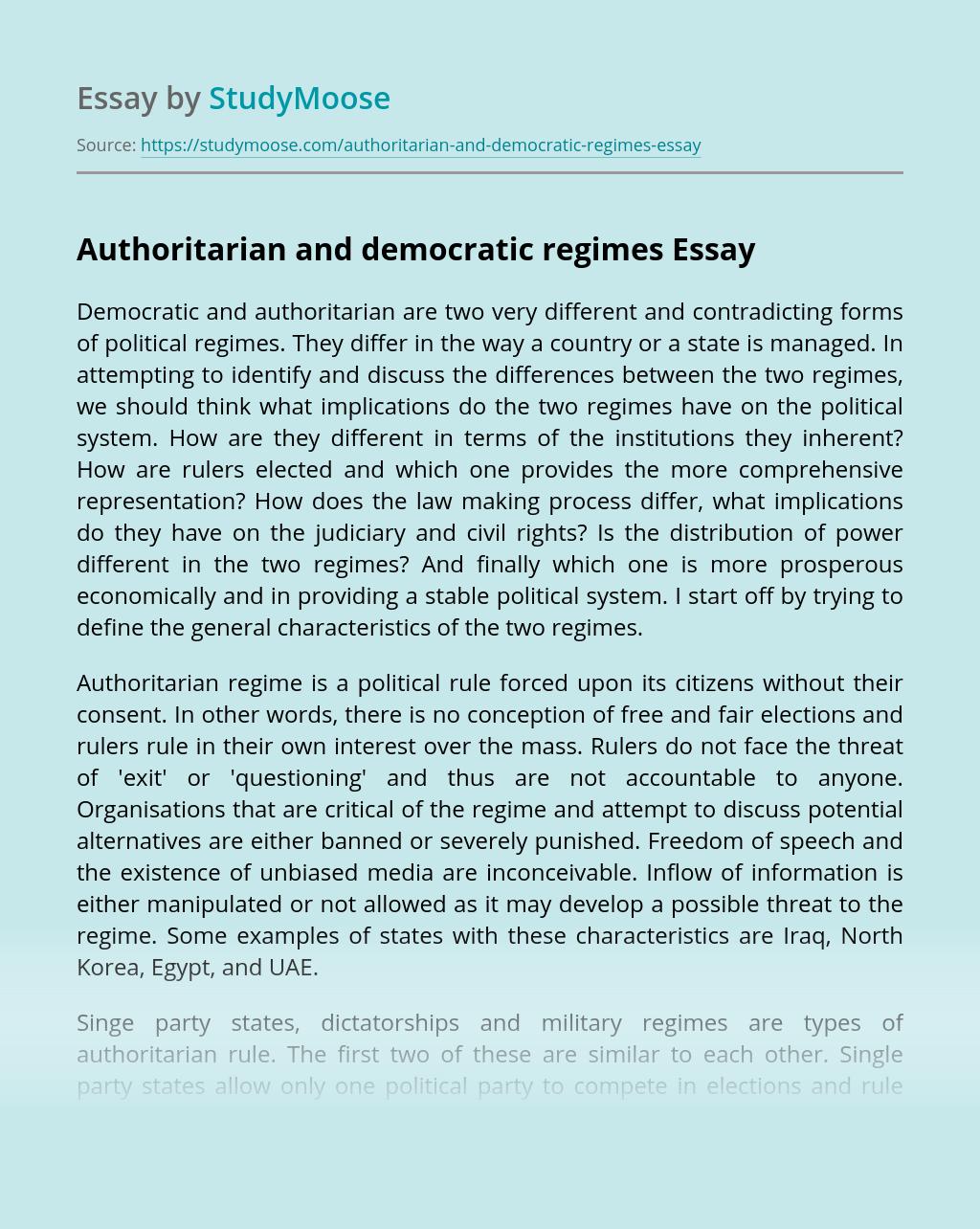 Authoritarian and Democratic Regimes