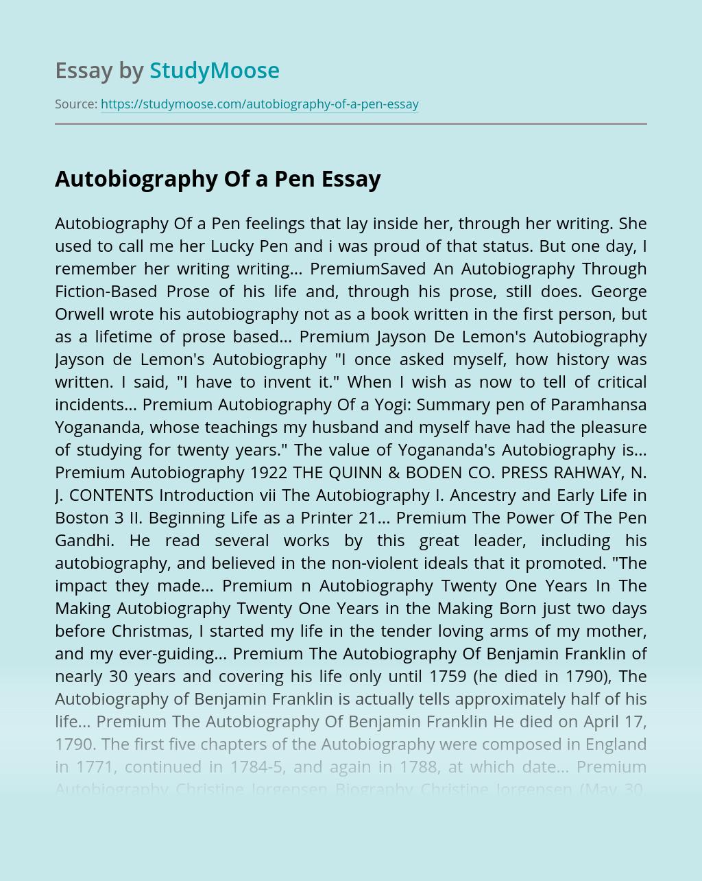 Autobiography Of a Pen