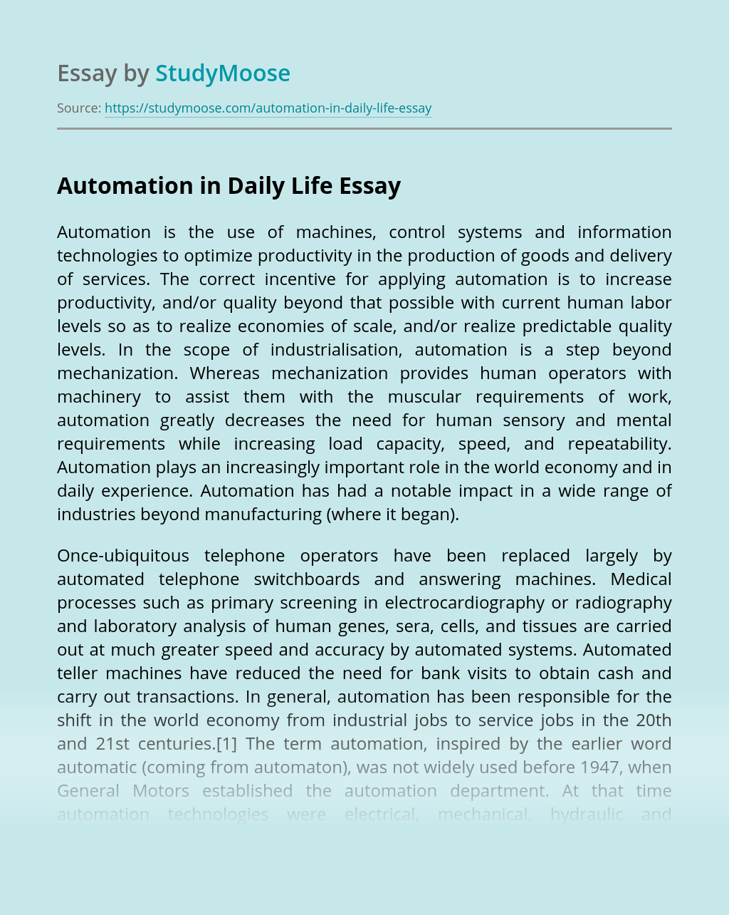 Automation in Daily Life