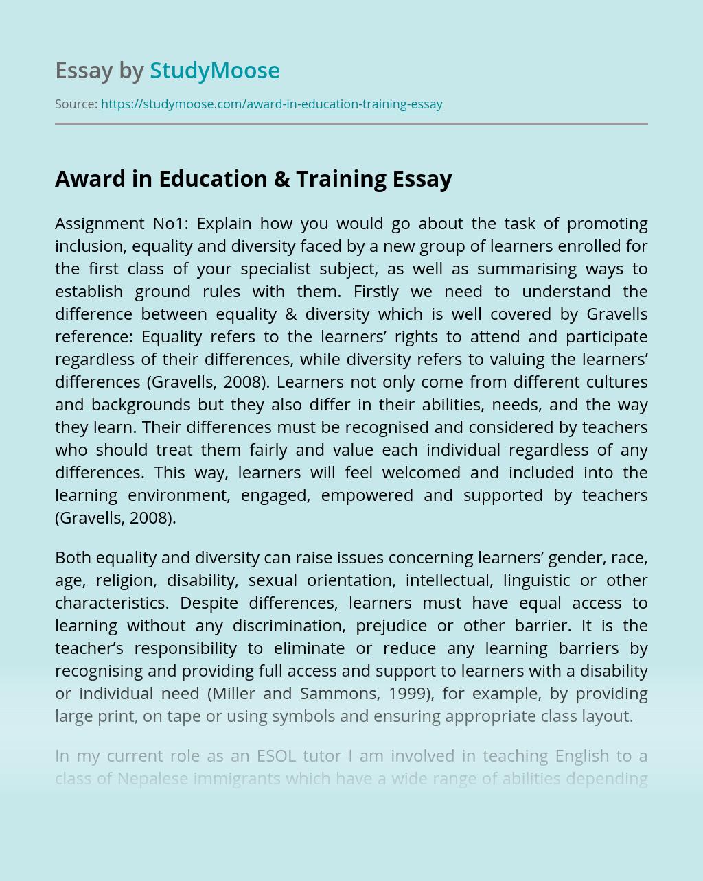 Award in Education & Training